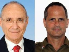 Israels turistminister Uzi Landau og IDFs talsmann for norske og svenske medier, Bjørn Hermann.
