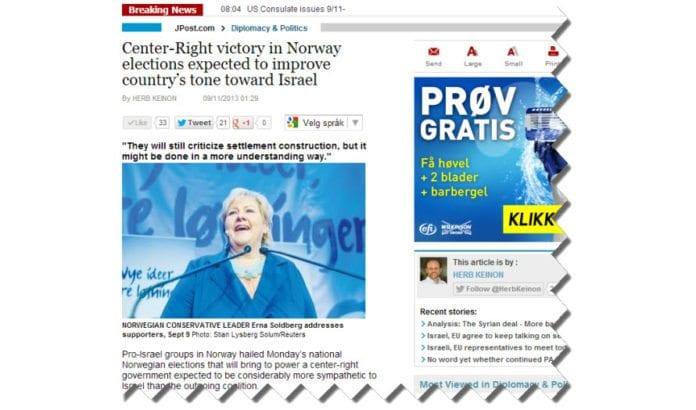Skjermdump av Herb Keinons artikkel på jpost.com 11. september 2013.