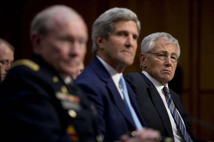 Fra tirsdagens Kongress-høring om Syria. F.v.: Forsvarssjef Martin Dempsey, utenriksminister John Kerry og forsvarsminister Chuck Hagel. (Foto: Chuck Hagel, flickr.com)