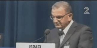Israels atomenergibyråsjef Shaul Chorev holder foredrag på IAEAs møte i Wien onsdag (Foto: Skjermdump fra Kanal 2)