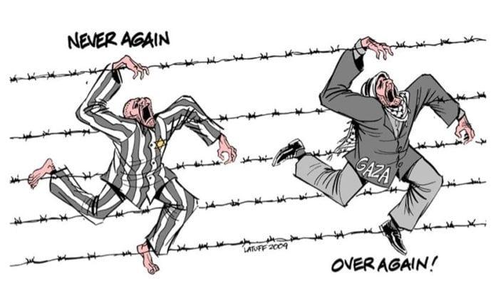 Denne karikaturtegningen av Carlos Latuff lå ute på hjemmesidene til Flanderns utdanningsdepartement, som en hjelpeoppgave for ferske lærere.