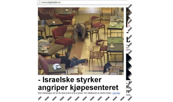 Skjermdump av Dagbladets første forsidehenvisning, før MIFF tok kontakt med redaksjonen.