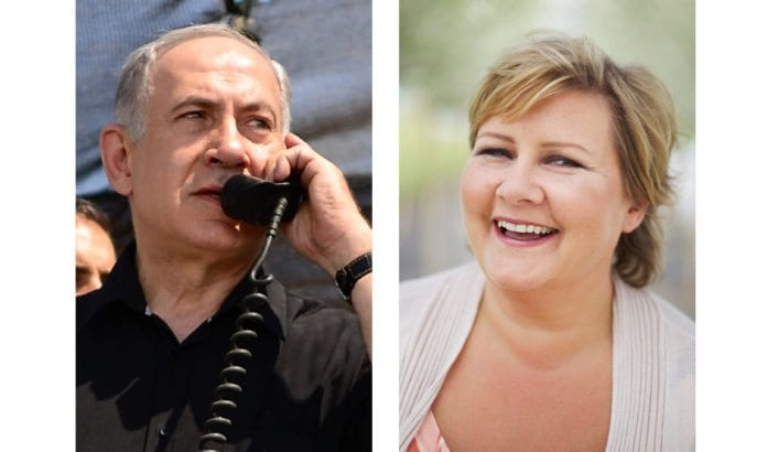 Israels statsminister Benjamin Netanyahu ringte til Norges påtroppende statsminister Erna Solberg torsdag 12. september. (Foto: GPO/ Høyre)
