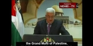 Mahmoud Abbas hyllet nazi-støttespilleren Hajj Muhammad Amin Al-Husseini i sin tv-sendte tale under Fatah-jubileet i januar 2013.