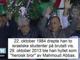 PA-president Mahmoud Abbas hyller terroristen Issa Abd Rabbo. (Skjermdump fra NRK Urix 30. oktober 2013)
