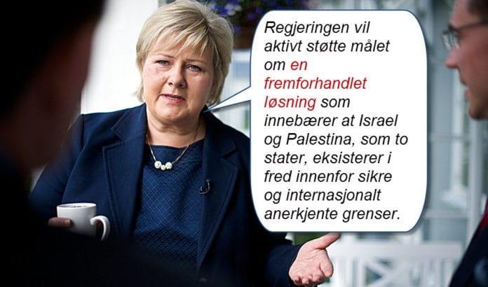 Erna Solbergs regjering er sannsynligvis den første norske regjering som nevner Palestina i sin regjeringsplattform. (Foto: CF-Weenberg, Erna Solbergs flickr-konto)