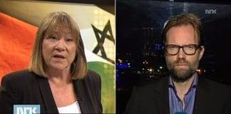 Programleder Annette Groth intervjuer NRKs Midtøsten-korrespondent Sigurd Falkenberg Mikkelsen. (Skjermdump fra Urix 30. oktober 2013)