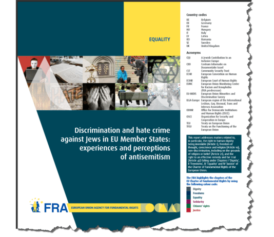 Forsiden på EUs byrå for fundamentale rettigheters (FRA) første rapport om europeiske jøders oppfattelsen av antisemittismens utvikling i Europa. (Foto: Skjermdump fra fra.europa.eu)