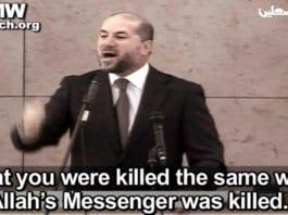 PAs religionsminister Al-Habbash anklager Israel for å ha drept Yasser Arafat, og drar fram gamle anklager om at også profeten Muhammed ble drept av forgiftning av jøder. (Skjermdump fra PA TV, via PMW)