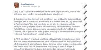 Skjermdump fra Trond Andresens Facebook-innlegg. Innlegget er gjengitt i sin helhet.