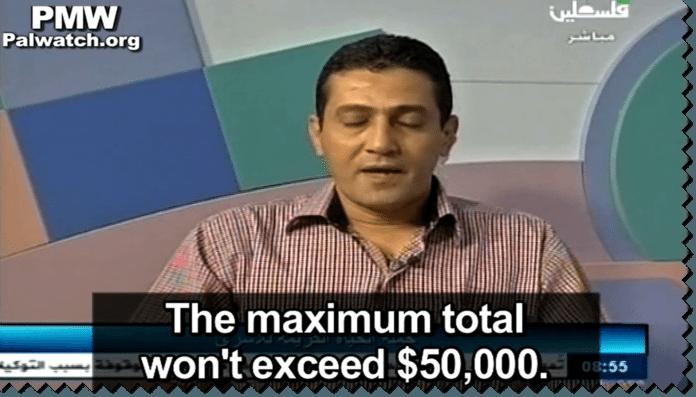Direktør for det palestinske fengselsdepartementet, Nael Ghannam, forklarer til PA TVs tittere hvordan den nye utbetalingen til terrorister vil foregå. (Foto: Skjermdump fra palwatch, Youtube.com)