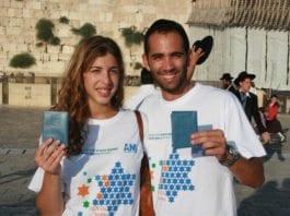 """To franske jøder har akkurat gjennomført """"aliyah"""" og står foran Tempelplassen med sine nye israelske pass. (Illustrasjon: JAFI Israel)"""