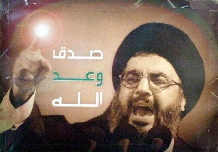 Propagandaplakat av Hizbollah-leder Hassan Nasrallah i Libanon (Illustrasjon: delayed gratification, flickr.com)