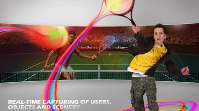En Xbox-bruker spiller tennis ved hjelp av 3D-bevegelsesgjenningsteknologien i Microsoft Kinect, utviklet av israelske PrimeSense. (Illustrasjon: PrimeSense)
