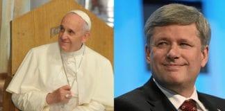 Den katolske paven Francis (f.v.) besøker Israel i mai, mens Canadas statsminister Stephen Harper kommer allerede i januar. (Foto: Montasje av to bilder fra Wikimedia Commons)
