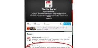 Skjermdump fra Twitter-kontoen til Staples Norge. 30. desember kom meldingen om at Staples fortsatt selger Sodastream.