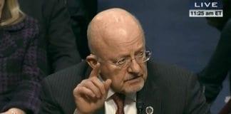 Den amerikanske etterretningssjefen James Clapper orienterer senatet om situasjonen i Iran. Foto: Skjermdump fra USAs offentlige TV-overføring.