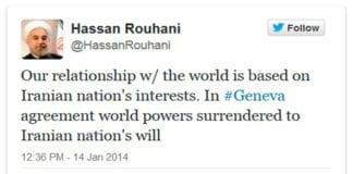 Irans president Hassan Rouhani på Twitter i dag.