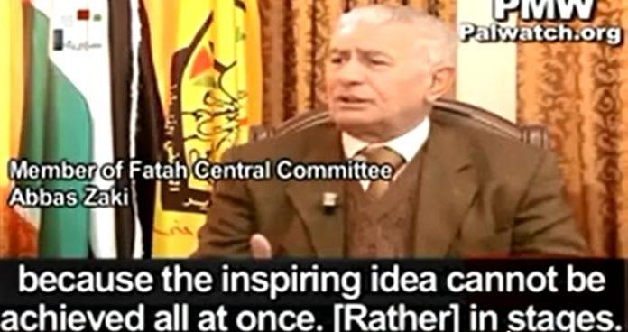 PA-talsmann Abbas Zaki snakker om palestinsk statsdannelse som et ledd på veien mot å utslette Israel (Skjermdump fra syrisk TV via PMW).