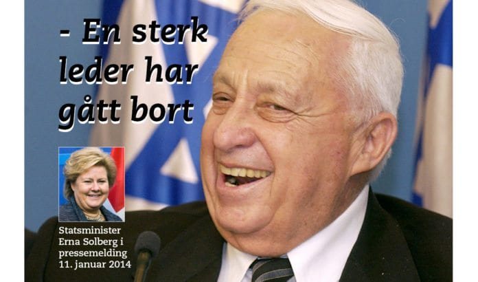 - Ariel Sharon har vært en sentral skikkelse i sitt land i flere tiår. I dag har en sterk leder gått bort og mine tanker går i dag også til Sharons familie, skrev statsminister Erna Solberg i en pressemelding 11. januar 2014.