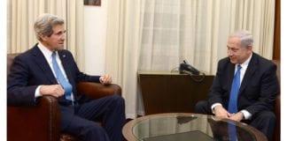 Statsminister Benjamin Netanyahu har mer enn tre av fire jødiske israelere bak seg når han står fast ved kravet om anerkjennelse av Israel som jødisk stat. Her er han i samtale med USAs utenriksminister John Kerry i forbindelse med fredsforhandlingene. Foto: Flickr/GPO.