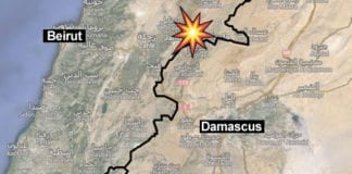 Våpenkonvoien ble stanset i dette grenseområdet mellom Syria og Libanon. (Kart: Google Maps, via Yedioth Aharonoth)