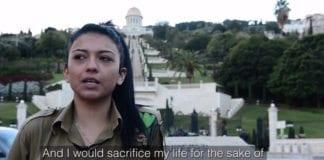 - Jeg vil ofre livet for staten Israel og alle dets innbyggere, sier Monaliza Abdo. (Skjermdump fra IDF-video)