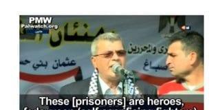"""PAs fangeminister Issa Karake taler på PA TV 4. november 2013. Han sier fangene som sitter i israelske fangenskap dømt for terrordrap er """"helter"""". (Skjermdump fra PA TV, via PMW)"""