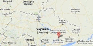 I den ukrainske byen Zaporizhia ble det natt til mandag kastet brannbomber mot en synagoge. Kart: Google Maps.