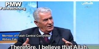 - Jeg tror Allah vil samle dem slik at vi kan drepe dem, sa Abbas Zaki på PA TV 12. mars. (Skjermdump fra PA TV via Palestinian Media Watch)