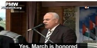 Rådgiver til PA-president Mahmoud Abbas, Sultan Abu Al-Einein, hedrer Dalal Mughrabi i en tv-sendt tale i mars 2014. (Skjermdump fra PA TV, via PMW)