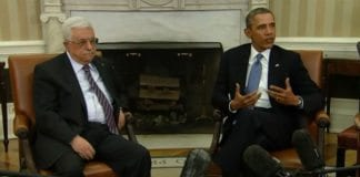 Mahmoud Abbas og Barack Obama møttes mandag i Washington. Foto: Skjermdump fra AFP/Youtube.