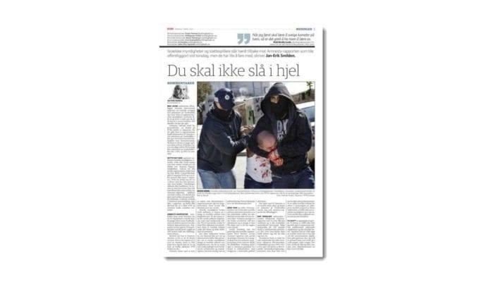 Jan-Erik Smilden, kommentator i Dagbladet, skriver om MIFFs kritikk av Amnesty-rapporten på side 3 i Dagbladet mandag 3. mars 2014. (Faksmile Dagbladet)
