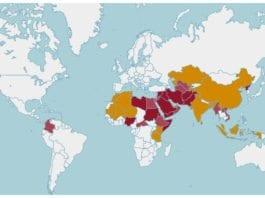 Åpne Dørers oversikt over de 50 land i verden med mest intens forfølgelse av kristne. (Kart: worldwatchlist.us)