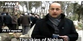 Stjernene som den palestinske journalisten snakker om, er to selvmordsbombere som til sammen drepte 16 mennesker og skadet 80. (Skjermdump fra PA TV, via PMW)