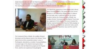 I vinter har ledere i terrororganisasjonen PFLP vært på besøk i Brasil, hvor de også, ifølge PFLPs egen nettside, har snakket om Union of Agricultural Work Committees, en av Norsk Folkehjelps samarbeidspartnere. (Foto: Nettsiden til PFLP)