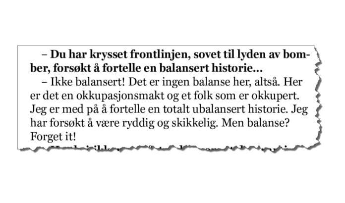 NRKs tidligere Midtøsten-korrespondent Odd Karsten Tveit til VG Helg 12. april 2014. (Faksmile VG Helg)