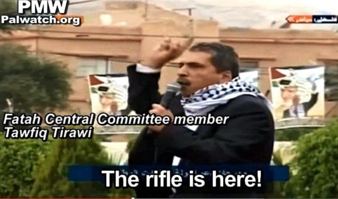 Medlem av Fatahs sentralstyrekomité oppfordrer til ny væpnet kamp på direktesendt offentlig TV. Foto: Skjermdump fra Youtube / PMW.
