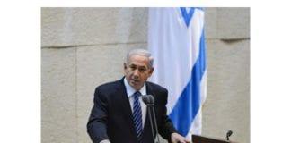 Israels statsminister Benjamin Netanyahu på talerstolen i nasjonalforsamlingen Knesset. Foto: GPO.