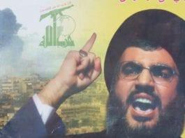 Plakat av Hizbollahs leder Hassan Nasrallah. Illustrasjon: Flickr.com.