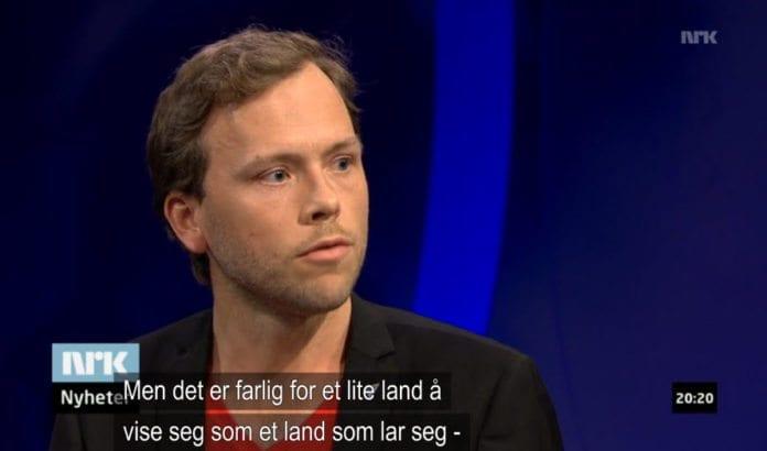 SV-leder Audun Lysbakken. (Skjermdump fra NRK Aktuelt 23. april 2014)
