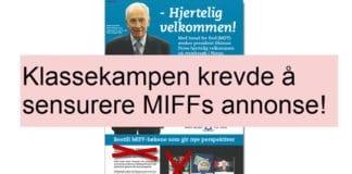 Klassekampen ville sensurere MIFFs annonse.