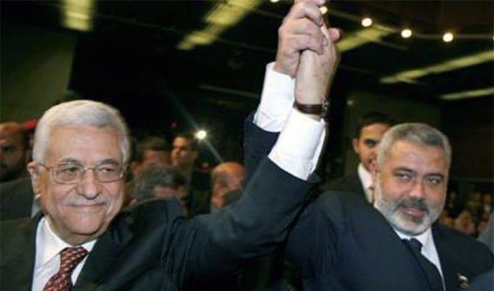 Fatah-leder og PA-president Mahmoud Abbas og Hamas-leder Ismail Haniyeh proklamerer at de vil gå i regjering sammen. (Foto: Skjermdump fra Press TV.)