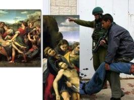 Raphaels maleri fra 1507 viser hvordan Jesus blir båret bort til graven (t.v.). Palestinske myndigheter har manipulert maleriet slik at det viser en jeanskledd Jesus som bæres bort etter ordre fra en israelsk soldat.