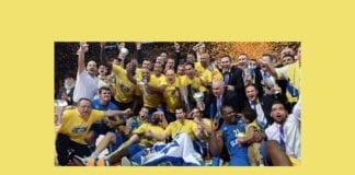 Maccabi Electra Tel Aviv vant Europaligaen i basketball søndag 18. mai 2014. (Foto: Nettsiden til Euroleague)