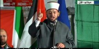 Imam fra Klippemoskeen oppfordrer muslimske land til å utslette staten Israel. (Foto: Skjermdump fra Memritv.org.)