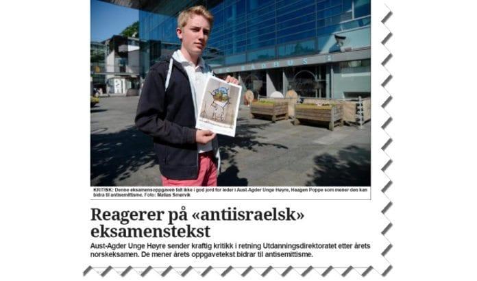 Skjermdump fra nettsiden til Agderposten 2. juni 2014.