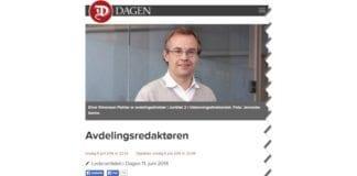 Skjermdump av Dagens lederatikkel 11. juni 2014.