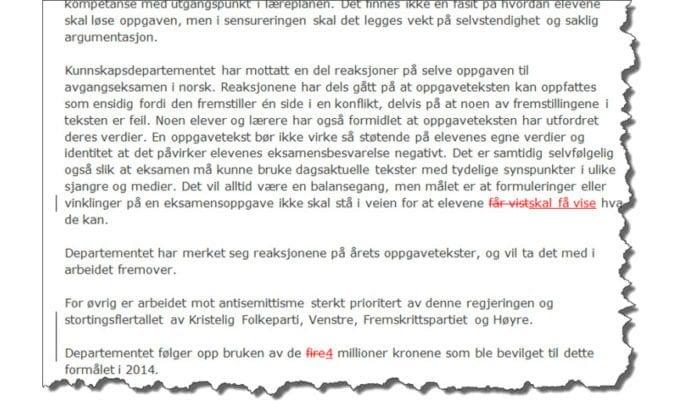 Når kunnskapsminister Torbjørn Røe Isaksen svarer stortingsrepresentant Rytman gjør han bare to ørsmål justeringer i forhold til svaret han tidligere har sendt stortingsrepresentant Ropstad. (Skjermdump av MIFFs sammenligning i Word)
