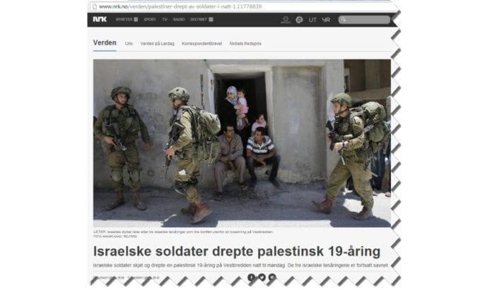 Skjermdump fra Nrk.no, som gjenga NTBs artikkel om drap på 19-åring uten å nevne at 19-åringen deltok i voldelig konfrontasjon mot soldatene.